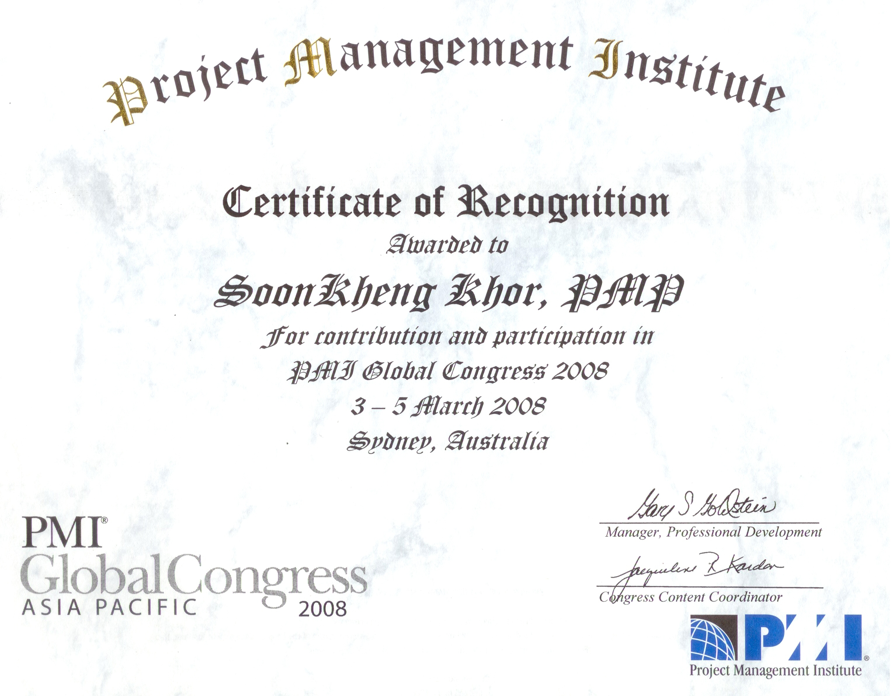 2008 Pmi Global Congress Sydney Ict Program Risk Management Asian